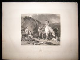 After Cooper C1840 LG Folio Engraving. A Day's Sport in the Highlands. Horse